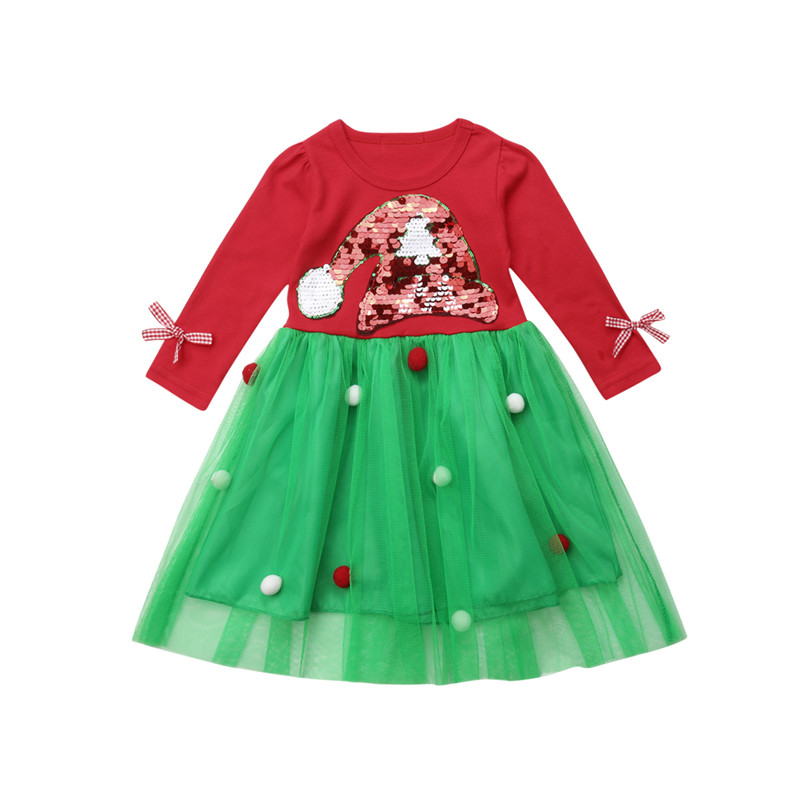 Xmas Kid Toddler Baby Girl Sweet Dress Christmas Pageant Princess Tutu Mesh Dresses Long Sleeve Santa Hat Print Gown Dresses