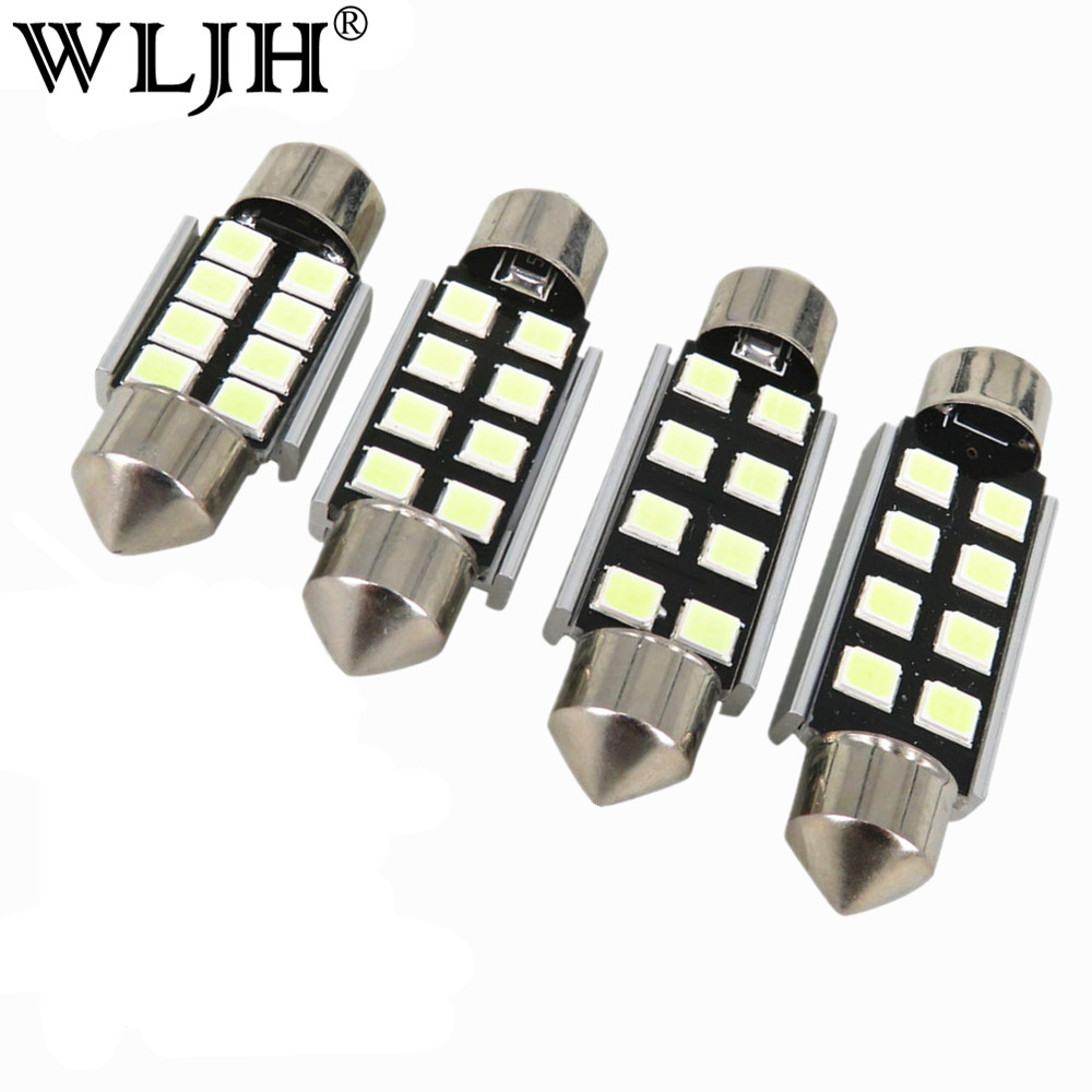 WLJH 1x Canbus 36mm 39mm 41mm 31mm For Samsung LED Chip 2835 6418 C5W External Interior Lights 12v Car Light Source Parking wljh 6x canbus w5w t10 led car light 9 led 2835 smd interior light dome map stepwell bulb courtesy cargo trunk lights source