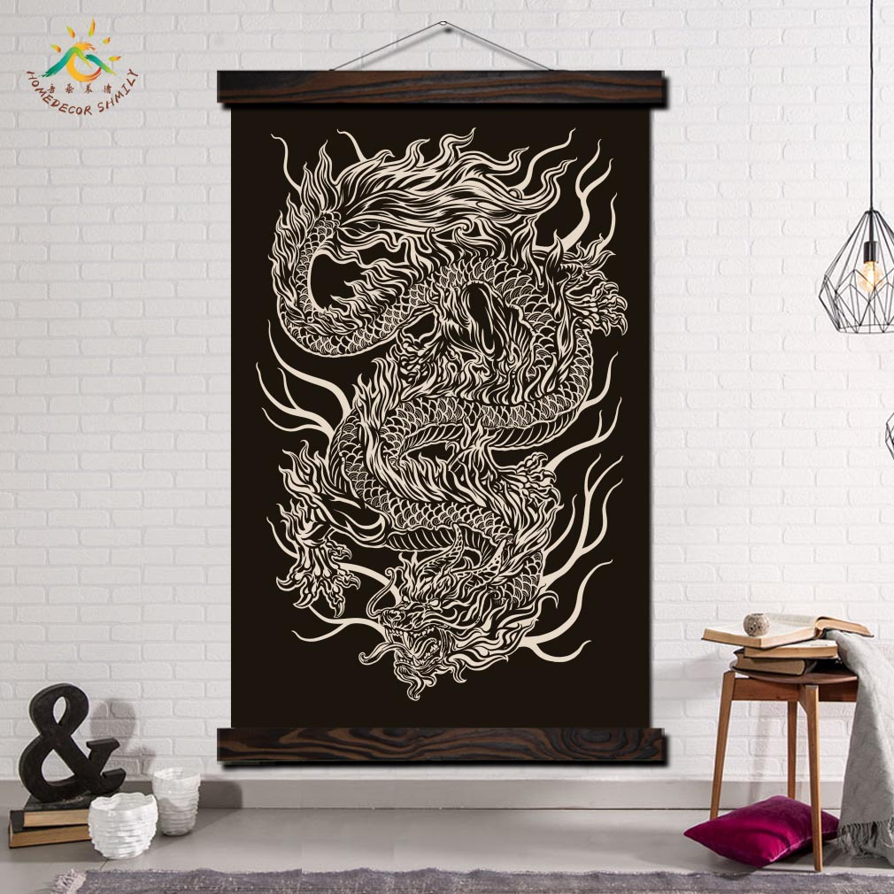 Black and White Dragon Modern Wall Art Print Pop Art Posters and Prints Scroll Canvas Painting Wall Pictures for Living Room in Painting Calligraphy from Home Garden