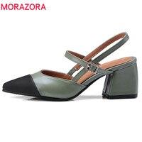 MORAZORA 2018 new arrive spring summer women pumps Splice color Shallow single shoe med heels size 32 46 simple shoes woman
