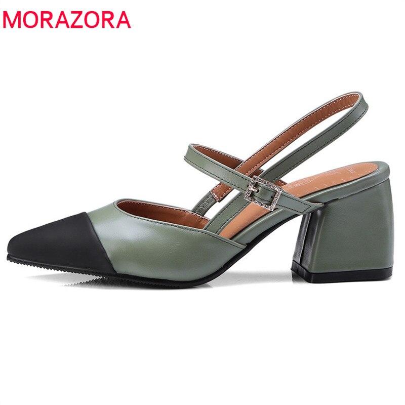MORAZORA 2019 new arrive spring summer women pumps  Splice color Shallow single shoe med heels size 32-46 simple shoes woman