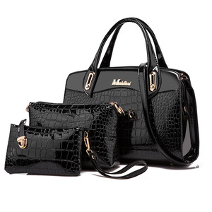 Image 3 - 3 Pcs New Fashion Alligator Women Handbags Patent Leather Ladies Shoulder Bags Female Girl Brand Luxury Crossbody Composite Bag