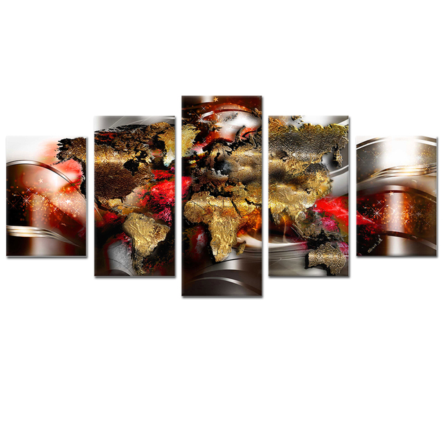 Abstract World Map Canvas Wall Art Framed Painting 5 Pieces For