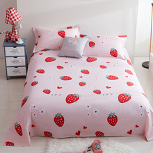47c34daeb9 2019 New Cartoon Red Strawberry Pattern 3Pcs Flat Sheet King Size Cotton  Blend Printed Flat Sheets