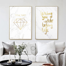 Golden Marble Posters and Prints Gold Canvas Art Painting Ampersand Diamond Wall Modern Pictures for Living Room