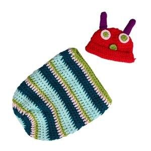 WOTT Newborn Baby Boy Girl Beanie Crochet Very Hungry Caterpillar Hat Set Party Costume Photo Props(China)