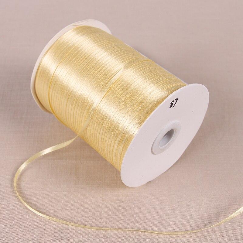 3 мм атласные ленты 22 м/лот DIY ручной работы товары для украшения свадьбы, дня рождения Подарочная упаковка белые ленты - Цвет: Light Gold