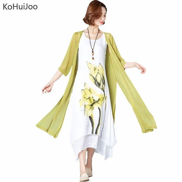 KoHuiJoo M-4xl New Ladies Large Size Dresses  Women National Trend Print Loose Cardigan Cotton Linen Dress  Plus Size 4XL