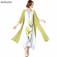 KoHuiJoo M 4xl New Ladies Large Size Dresses Women National Trend Print Loose Cardigan Cotton Linen Dress Plus Size 4XL