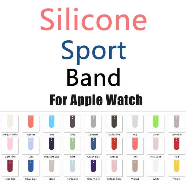 2017 Novas Cores de Oliva Escuro Rosa Vermelha Faixa de Relógio de Silicone Banda Esporte para Apple Série 1 Série 2 Série 3