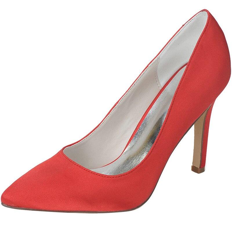 LOSLANDIFEN Women Satin Silk Wedding Shoes 10CM High Heels Pointed Toe Bridal Shoes Shallow Cut Slip-on Pumps Red Blue White цена