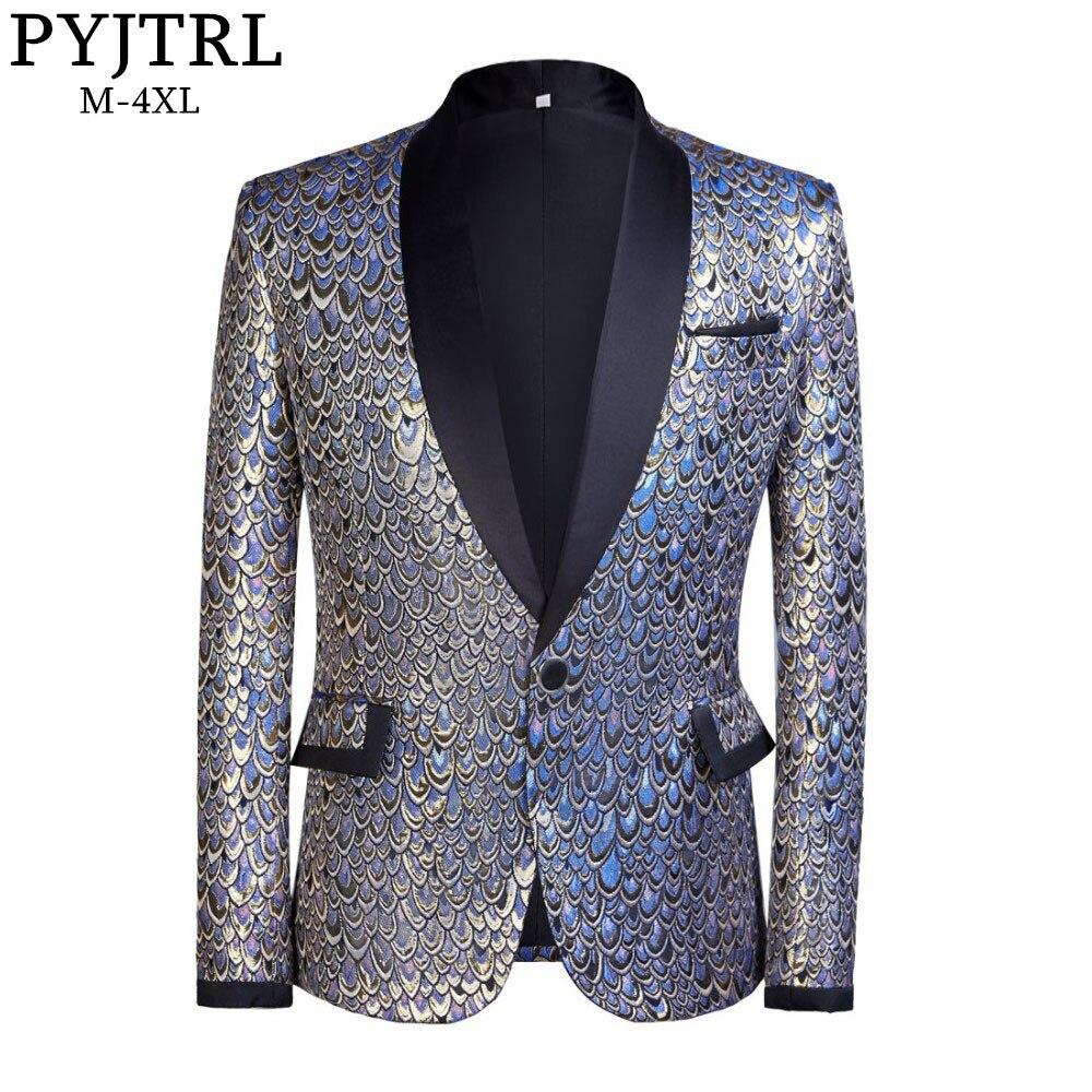 PYJTRL мужской платок с лацканами Золото Синий жаккардовые чешуйки Slim Fit Blazer Hombre пиджак Для мужчин свадебные Жених певцов костюм