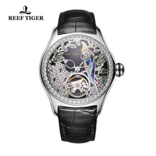 2018 Reef Tiger RT Top Brand Fashion Watches for Women Leather Band Steel Watch Automatic Tourbillon