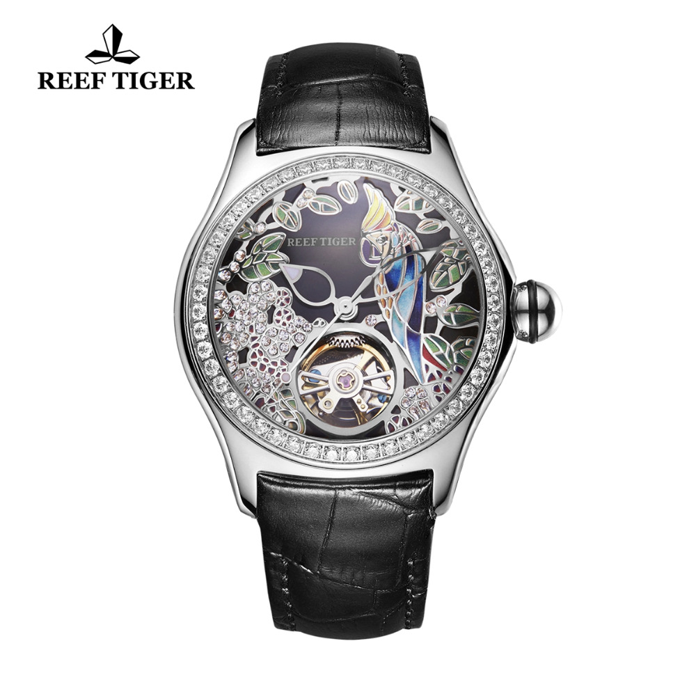 2019 Reef Tiger/RT Top Brand Fashion Watches For Women Leather Band Steel Watch Automatic Tourbillon Watches RGA7105