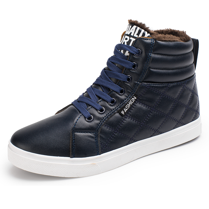 Winter shoes Mens Boots Men winter boots High Top Fur Lace Up Warm ankle Boots For Men 2018 Fashion Black Blue Yellow все цены