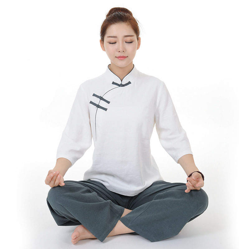 Unique Design Half Sleeve Linen Bi-color Taiji Clothing Yoga Suit Kung Fu Uniform Martial Arts Tai Chi Suits Wushu Garment купить недорого в Москве