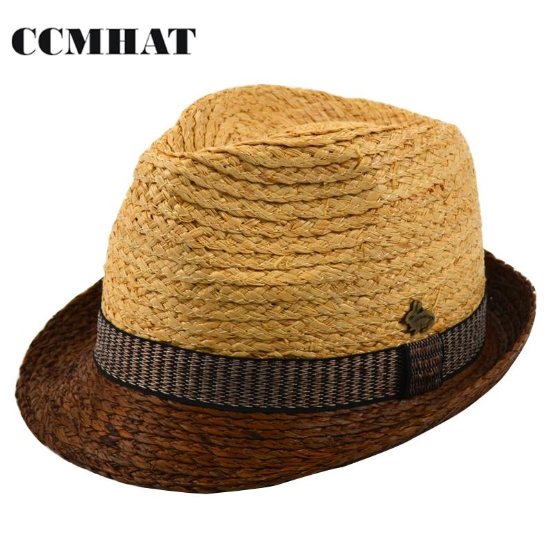 Raffia Straw Fedoras For Men s 2017 Fashion Raffia Trilby Straw Hats  Patchwork Natural Fedora Hats For Men Chapeau Fedora Hat a385fb2f5dd