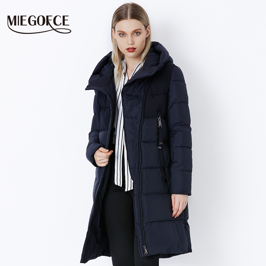Miegofce 2019 겨울 여성 자켓 코트 방풍 따뜻한 여성 파카 짙은 면화 패딩 여성 자켓 브랜드 뉴 컬렉션-에서파카부터 여성 의류 의  그룹 1