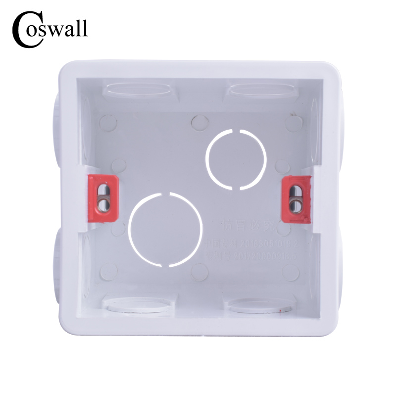 Coswall Adjustable Mounting Box Internal Cassette 86mm*83mm*50mm For 86 Type Switch and Socket White / Red Color Wiring Back Box