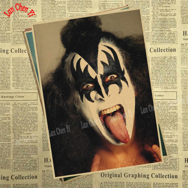 Fascia bacio Manifesto di Carta Kraft music team star classic pittura decorativa retro Poster