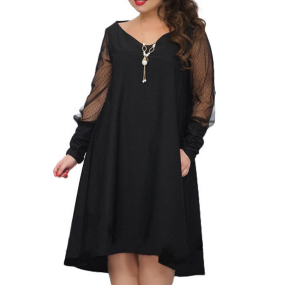 Autumn Fashion Women Dress Large Size V Neck Solid Color Mesh Long Sleeve Dress Asymmetrical A-Line Dress Female