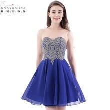 e1dcb624f Sexy backless azul real Encaje corta Vestidos de fiesta imagen real gasa  corto 8th grado Vestidos de baile