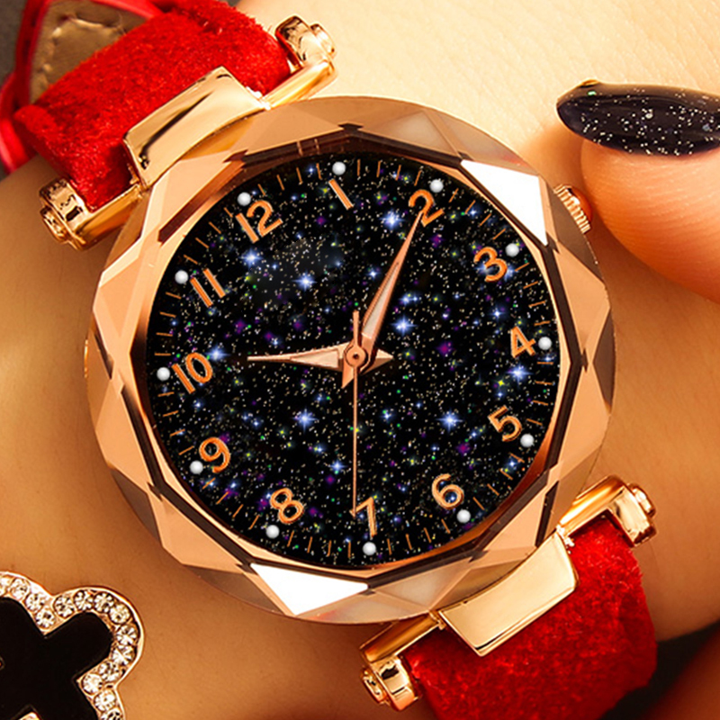 Luxury Starry Sky Watch For Women Fashion Ladies Quartz Wristwatch Red Leather Waterproof Clock Relogio Feminino Zegarek Damski