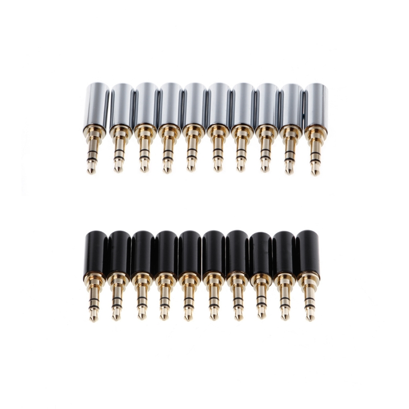 10 Pcs 3 Pole Copper Gold Plated 3.5mm Male Stereo Audio Jack Plug Soldering Connector