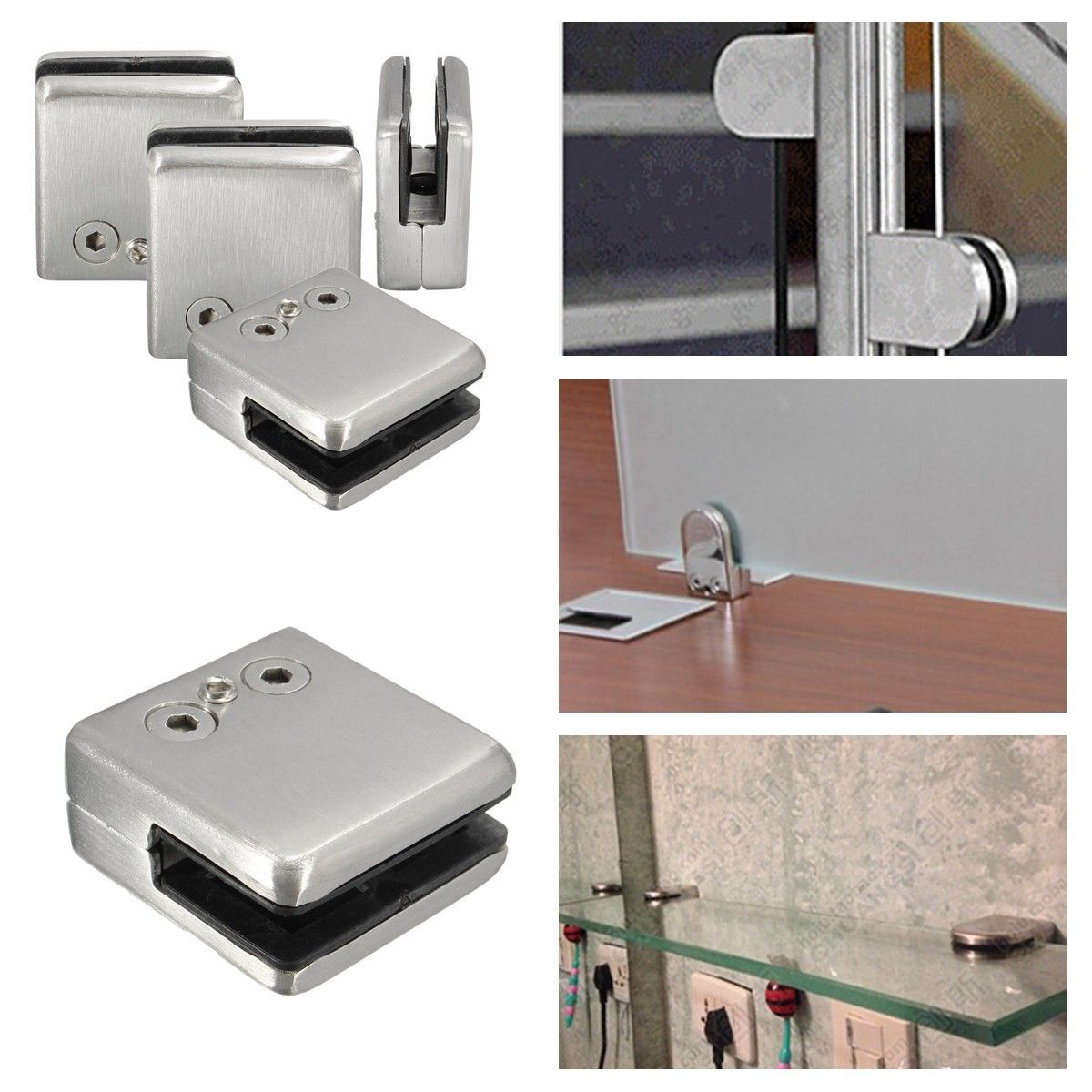 Hot Sale 4Pcs Stainless Steel Square Clamp Holder Bracket Clip For Glass Shelf Handrails Silver