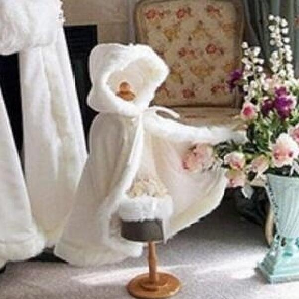 Long Warm Cloak White Ivory Bride Winter Wedding Cloak Shawl Satin + Faux Fur Cloak Coat Flower Girl SHAWL Children's Cloak