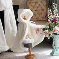Long warm cloak white ivory bride winter wedding cloak shawl satin + faux fur cloak coat flower girl SHAWL children's cloak