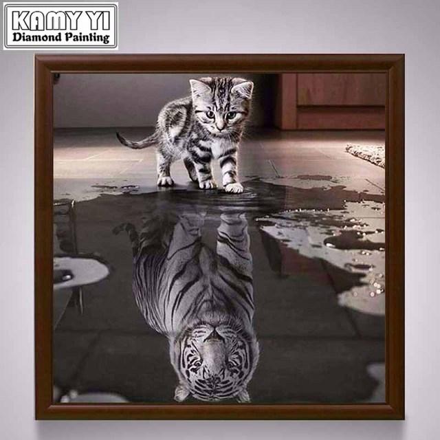 Nuovo Artigianato Gatto Riflessione Tigre 5D Fai Da Te Disegni e schemi per puntocroce Animale Diamante ricamo Mosaico Europeo Complementi Arredo Casa 1