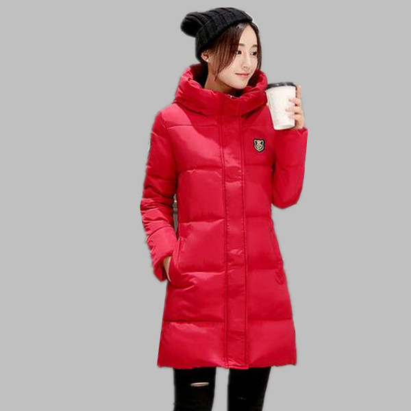 Women winter coat with hood women's winter jackets thick warm cotton-padded ladies long coats black womens parkas A310