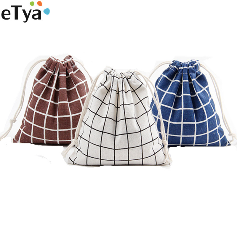 ETya Women Men Cotton Eco Reusable Shopper Bags Travel Tote Storage Bags Drawstring Foldable Shopping Bags Small Large Size