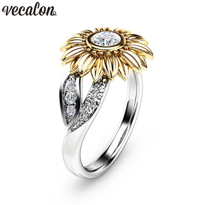 Vecalon Charm CZ Stone Ring Bague Femme 925 Sterling silver Filled Sunflower Crystal Wedding Rings for Women Drop Shipping Gift