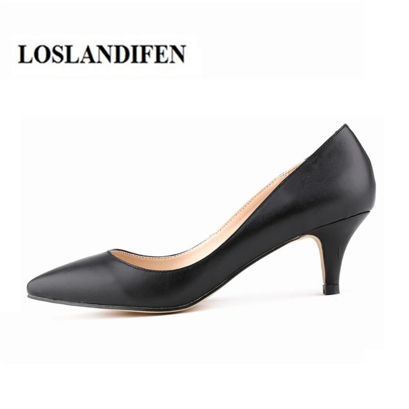 LOSLANDIFEN 5cm Kitten Heel Bombas de trabajo de cuero mate de charol EUR35-42 Envío gratis Zapatos de señora en punta