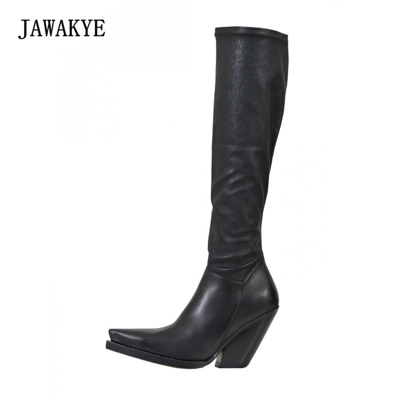 2018 Stretch Leather Knee High Boots Woman Pointed Toe Wedges Long Boots Women All Matched Riding Boots