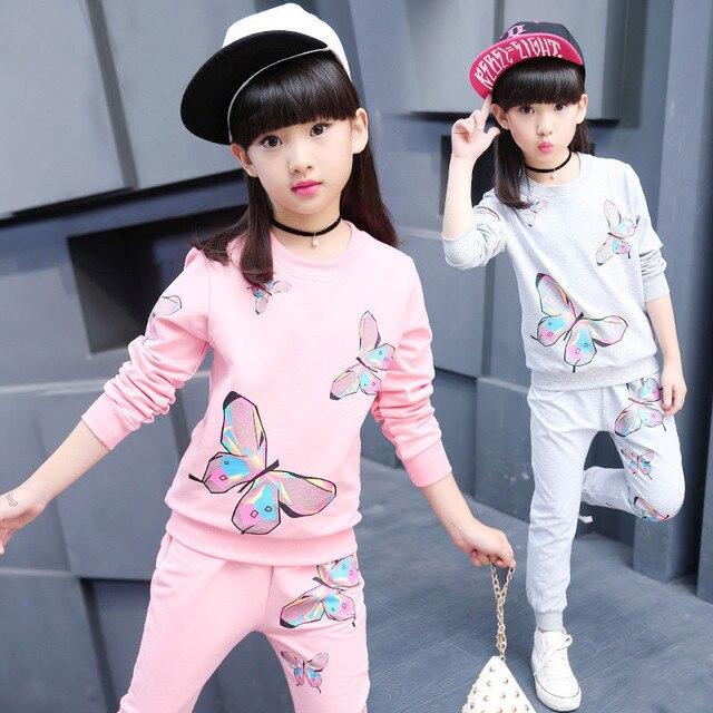 22bef92f932d Gulugulumi 2019 marca niñas imprimir mariposa deporte conjunto de ropa para  el otoño de Primavera de
