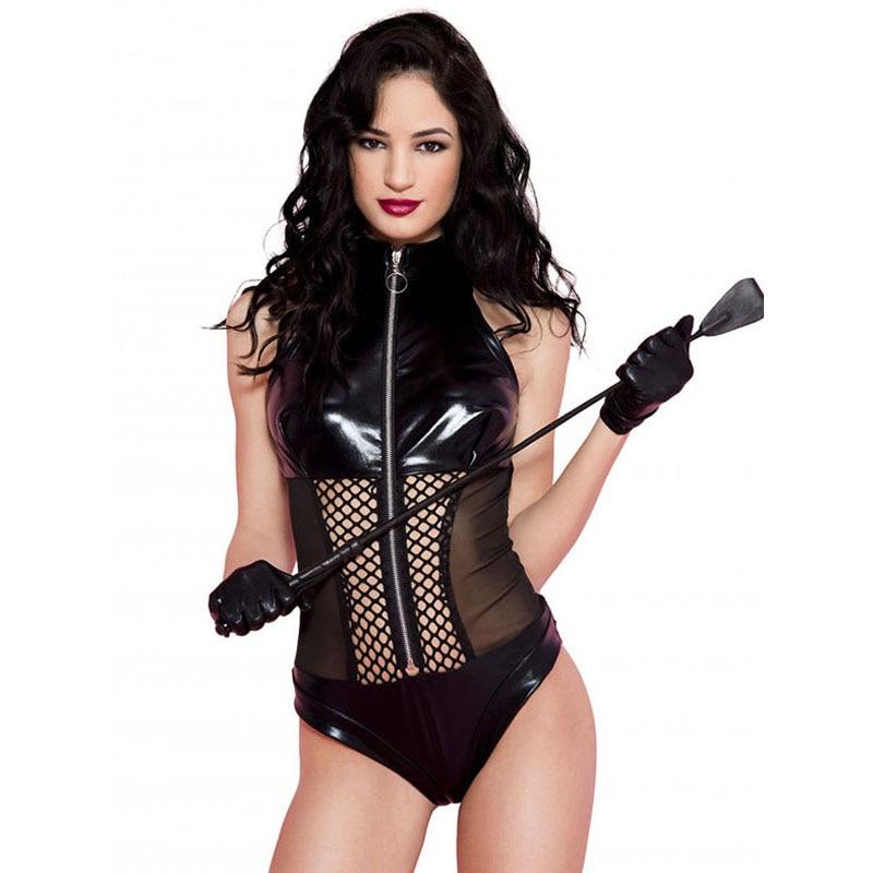 Sexy Wetlook Bodysuit Lingerie Black Pvc Latex Faux Leather Underwear Mesh Hollow Out Fetish Lingerie Erotic Body Suit Teddies
