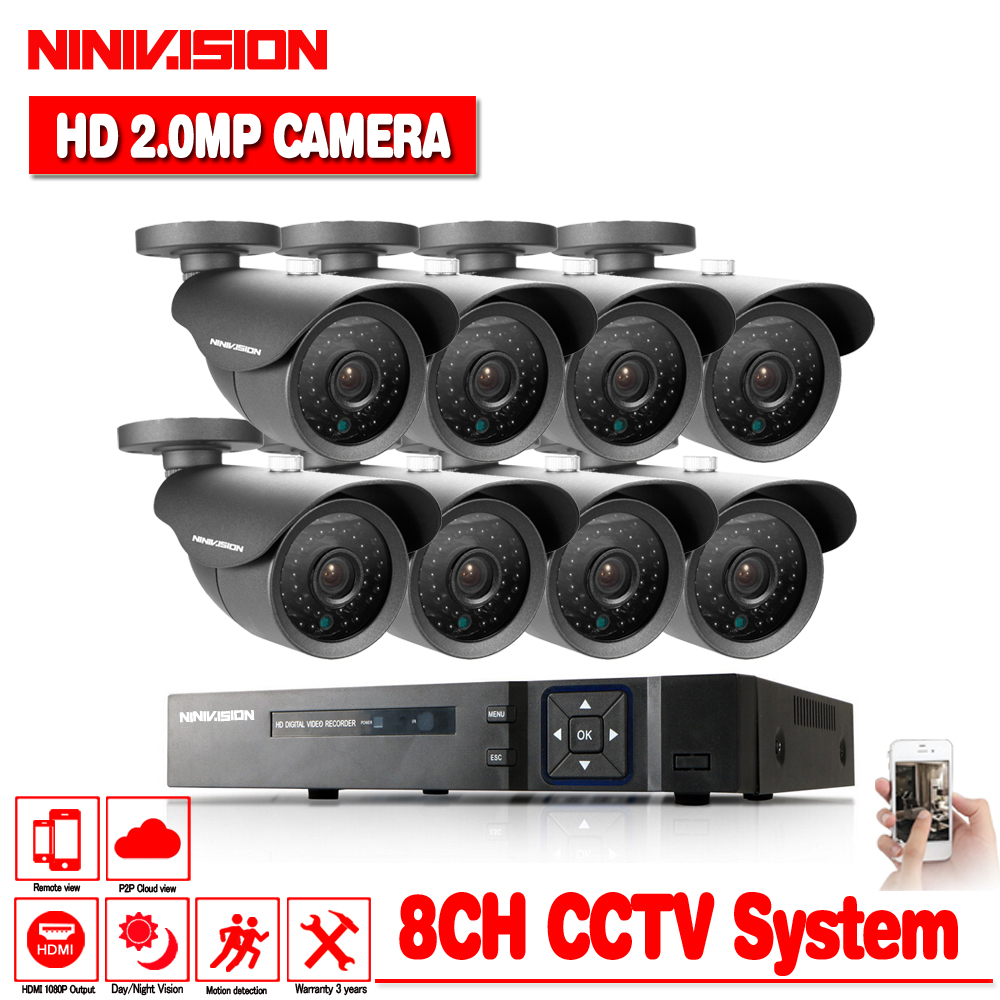 HD 8CH 1080P CCTV Security System 8PCS 3000TVL IR Outdoor AHD 1080N Video Surveillance 2.0MP Security Cameras 8 channel DVR Kit цена