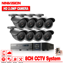 HD 8CH 1080P CCTV Security System 8PCS 3000TVL IR Outdoor AHD 1080N Video Surveillance 2.0MP Security Cameras 8 channel DVR Kit стоимость
