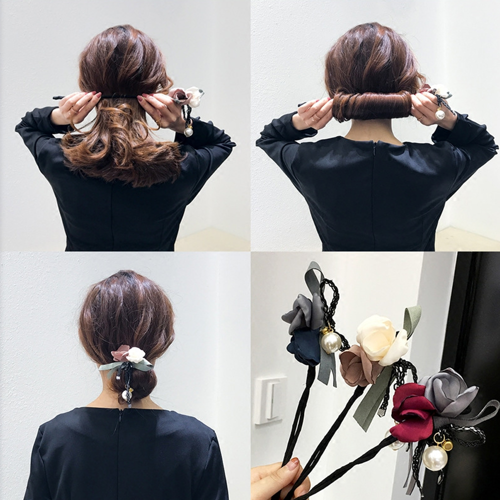 New Fashion Women Elegant Flower Big Pearls Hair Curls Bun DIY Hair Style Donut Maker Ribbon Hair Making Tool Hair Accessories