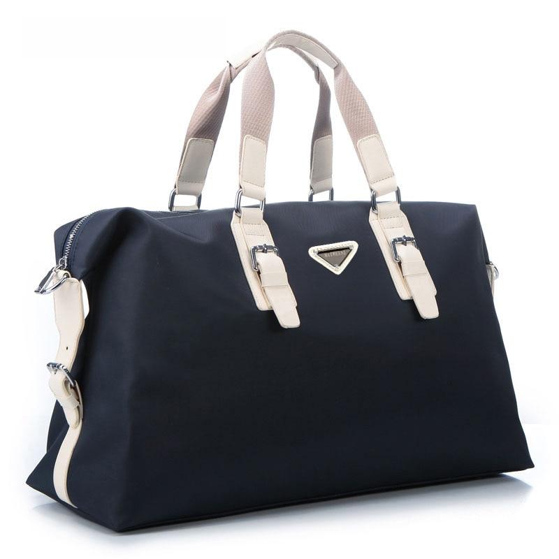 New Large Capacity Nylon Travel Bag Men Hand Luggage Travel Duffel Bag Casual Multifunctional PU Leather Shoulder Travel Bags 2