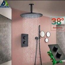 Torneira termoestática, torneira de chuveiro preta fosca montada no teto banheiro chuveiro chuveiro coluna dupla alça escondida torneira misturadora