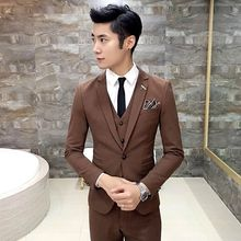 High Quality 2017 black/grey/navy blue tuxedo men suit 3 pieces mens formal terno slim fit costume homme wedding suits for men