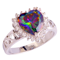 2015 Mysterious Heart Cut Rainbow Topaz 925 Silver Ring Size 6 7 8 9 10 11 12 New Fashion Jewelry Gift  For Women Wholesale