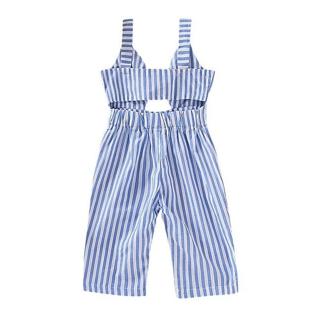 Meninas do bebê Calças de Verão Crianças Listrado Impressão de Algodão Sem Mangas Macacão Calças Suspensórios Elásticos Projeto Oco