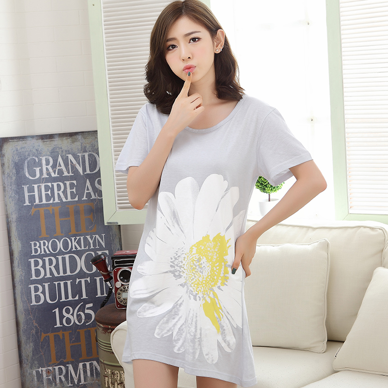 Summer Cotton Night Dress Women's   Nightgowns  &  Sleepshirts   Floral Print Nightdress Girl Sleepwear Femme Pyjamas Women Lounge Dress
