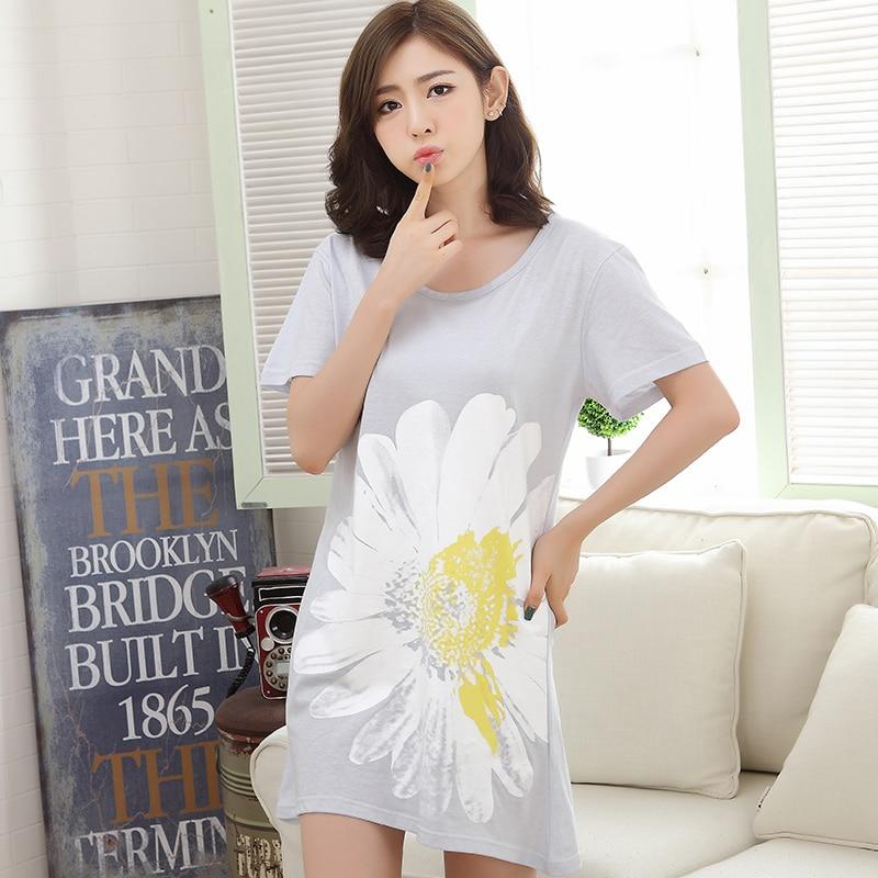 Summer Cotton Night Dress Women's   Nightgowns  &  Sleepshirts   Floral Print Nightdress Girl Sleepwear Femme Pyjamas Women Lounge Dress