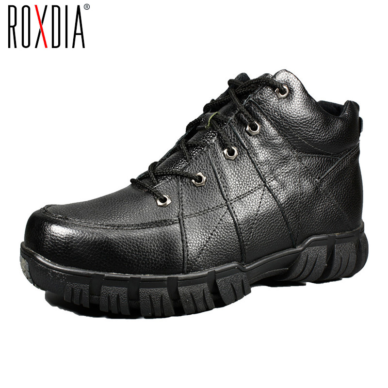 ROXDIA New Fashion Genuine Leather Winter Men Ankle Boots Man Warm Snow Boot Fur Work Lace-up Shoes Plus Size 39-44 RXM474